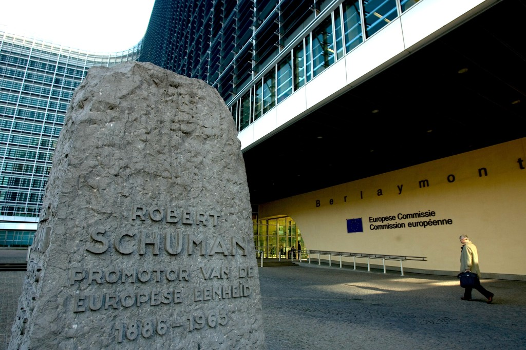 Views of the EU Commission headquarters, Berlaymont, with monument dedicated to Robert Schuman.