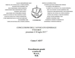 Le conclusioni dell'avvocato generale Bot nella causa sul rinvio pregiudiziale Taricco: verso uno scontro frontale