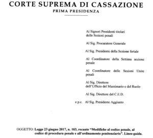 Riforma del processo penale (Legge 23 giugno 2017, n. 103): le linee-guida della Cassazione
