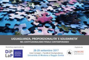 Uguaglianza, proporzionalità e solidarietà nel costituzionalismo penale contemporaneo (Modena, 28-29 settembre 2017)