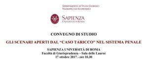 """Gli scenari aperti dal """"caso Taricco"""" nel sistema penale (Roma, 17 ottobre 2017)"""