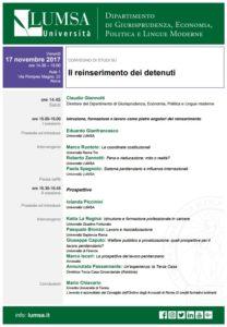 Il reinserimento dei detenuti (Roma, 17 novembre 2017)