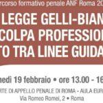 La legge Gelli-Bianco e la colpa professionale: rapporto tra linee guida e reato (Roma, 19 febbraio 2018)