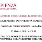Offensività, colpevolezza e sistema sanzionatorio nella struttura dell'illecito dell'ente da reato (Roma, 23 marzo 2018)
