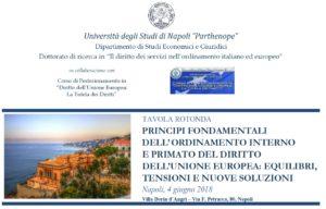 Principi fondamentali dell'ordinamento interno e primato del diritto dell'Unione europea: equilibri, tensioni e nuove soluzioni (Napoli, 4 giugno 2018)