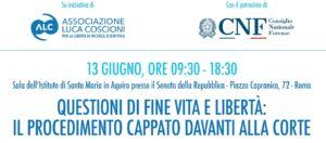 Questioni di fine vita e libertà: il procedimento Cappato davanti alla Corte (Roma, 13 giugno 2018)