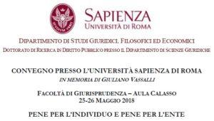 Pene per l'individuo e pene per l'ente (Roma, 25-26 Maggio 2018)