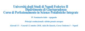 IV Seminario italo – spagnolo.Principi costituzionali e diritto penale europeo (Napoli, 11-12 ottobre 2018)