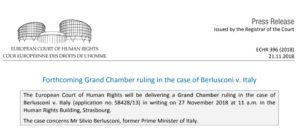 Berlusconi contro Italia: il 27 novembre 2018 verrà pubblicata la sentenza della Corte Europea dei Diritti dell'Uomo
