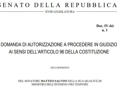 Nave Diciotti: la domanda di autorizzazione a procedere in giudizio presentata nei confronti del Ministro Salvini
