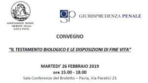 Il testamento biologico e le disposizioni di fine vita (Pavia, 26 febbraio 2019)