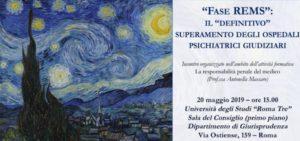 """""""Fase REMS"""": il """"definitivo"""" superamento degli ospedali psichiatrici giudiziari (Roma, 20 maggio 2019)"""