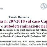 L'Ordinanza n. 207/2018 sul caso Cappato: dignità e autodeterminazione nel morire (Milano, 18 settembre 2019)