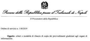 Criteri e modalità di rilascio di copia dei provvedimenti giudiziari agli organi di informazione: l'ordine di servizio della Procura di Napoli