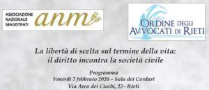 La libertà di scelta sul termine della vita: il diritto incontra la società civile (Rieti, 7 febbraio 2020)