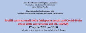Profili costituzionali delle fattispecie penali antiCovid-19 in attesa della conversione del DL 19/2020 (17 aprile 2020).
