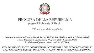 Seconda relazione sull'attuazione della l. n. 69/2019 (cd. Codice rosso) nel circondario di Tivoli. Un anno di applicazione (9 agosto 2019 – 8 agosto 2020).