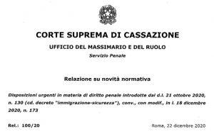 D.L. sicurezza-immigrazione: la relazione dell'Ufficio del Massimario della Cassazione