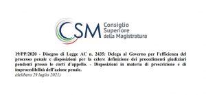 Riforma del processo penale: i pareri del CSM
